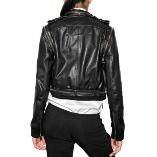 Женская дизайнерская кожаная куртка - Wasabi | Васаби